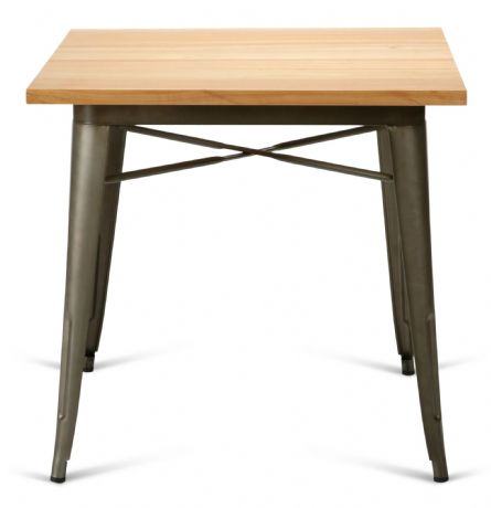 Tolix Style Square Metal Dining Table Gun Metal With Solid Oak Top 1/2 Price Deal
